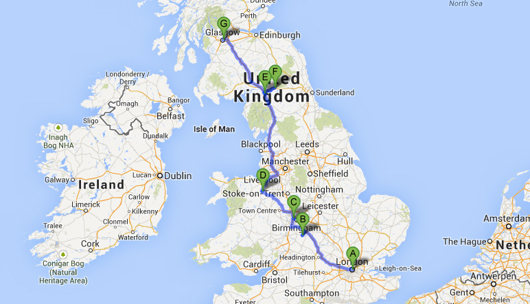 Map of UK Trip